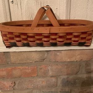 Other - Red & blue weaved long handle basket.